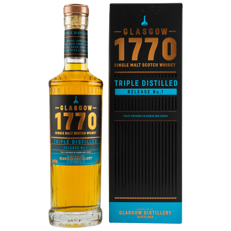 Triple Distilled Release No. 1 Glasgow 1770 Single Malt Scotch Whisky