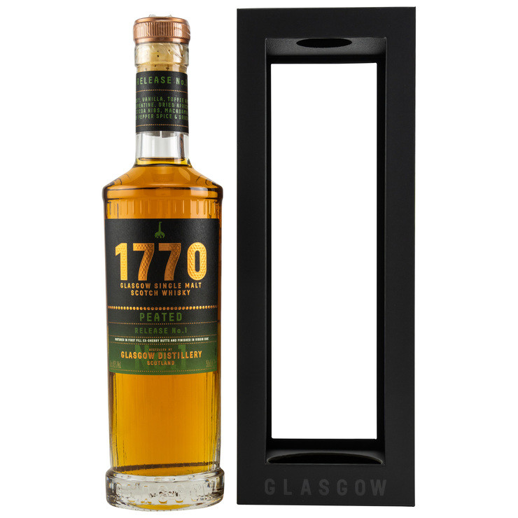 Peated release No. 1 Glasgow 1770 Single Malt Scotch Whisky