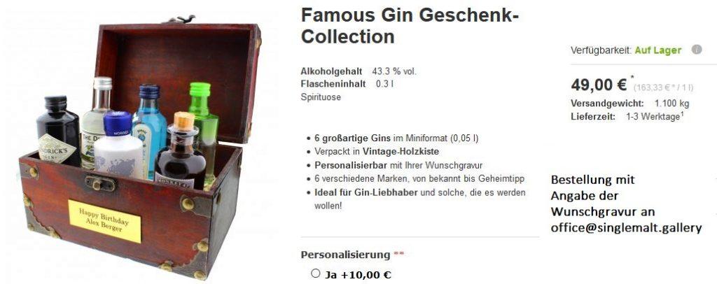 Individuell gravierte Gin-Schatztruhe